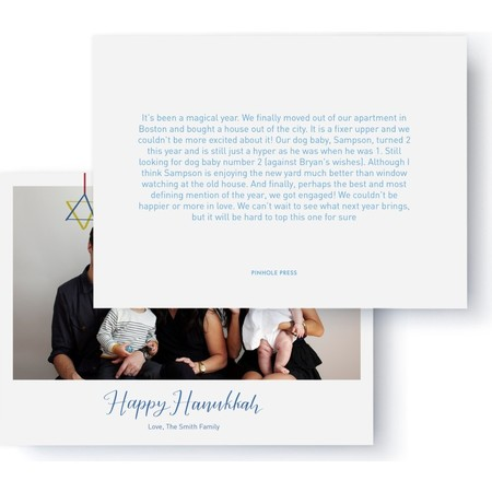 Hanukkah Letter Photo Card, Back Detail