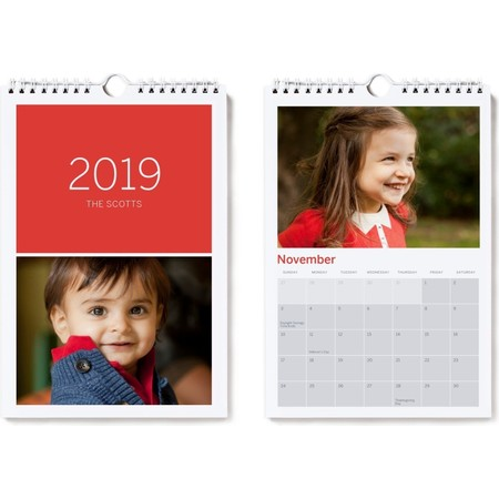 2019 Small Wall Calendar, Red