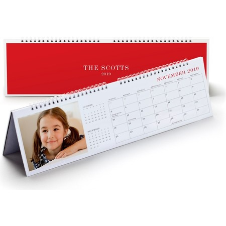Photo Desk Calendar, Red