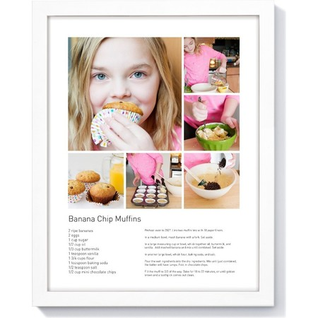 11x14 Recipe Framed Print, White Collage