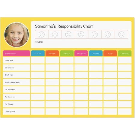 Dry- Erase Responsibility Chart Decal, Small