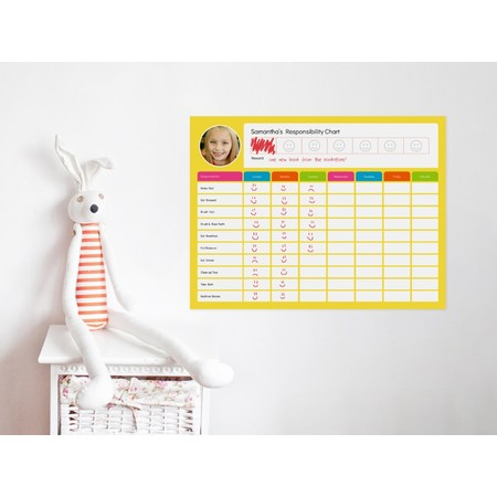 Dry- Erase Responsibility Chart Decal Filled In