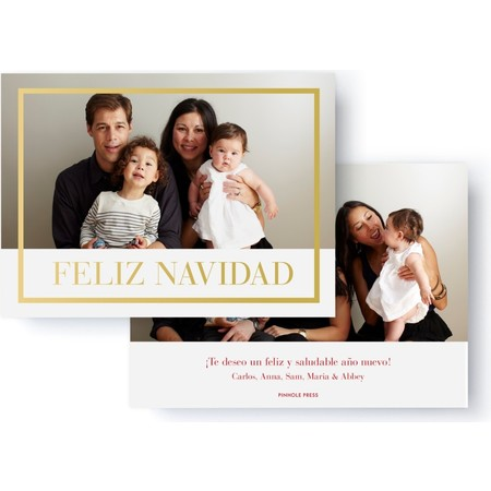 Gold Foil Feliz Navidad Photo Card