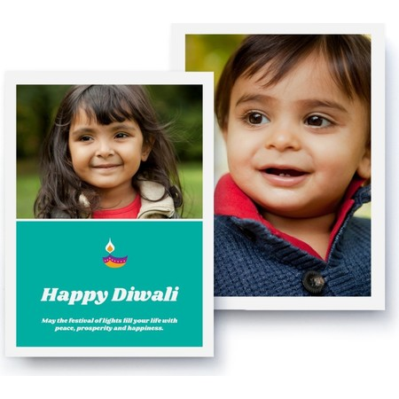 Green Diwali Photo Card