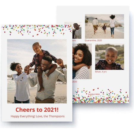 Cheers to 2021 Confetti Photo Collage Card