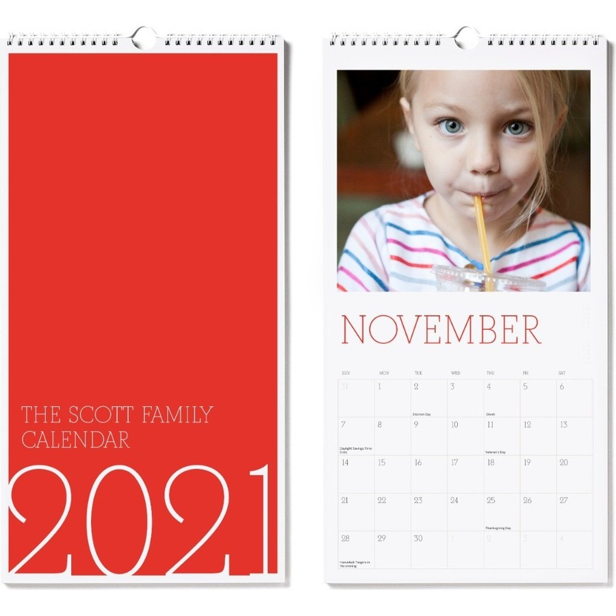 2021 Large Wall Calendar Red Cover
