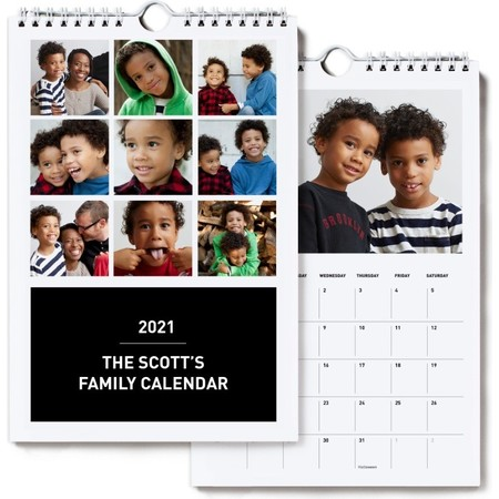 2021 Small Wall Calendar, Black