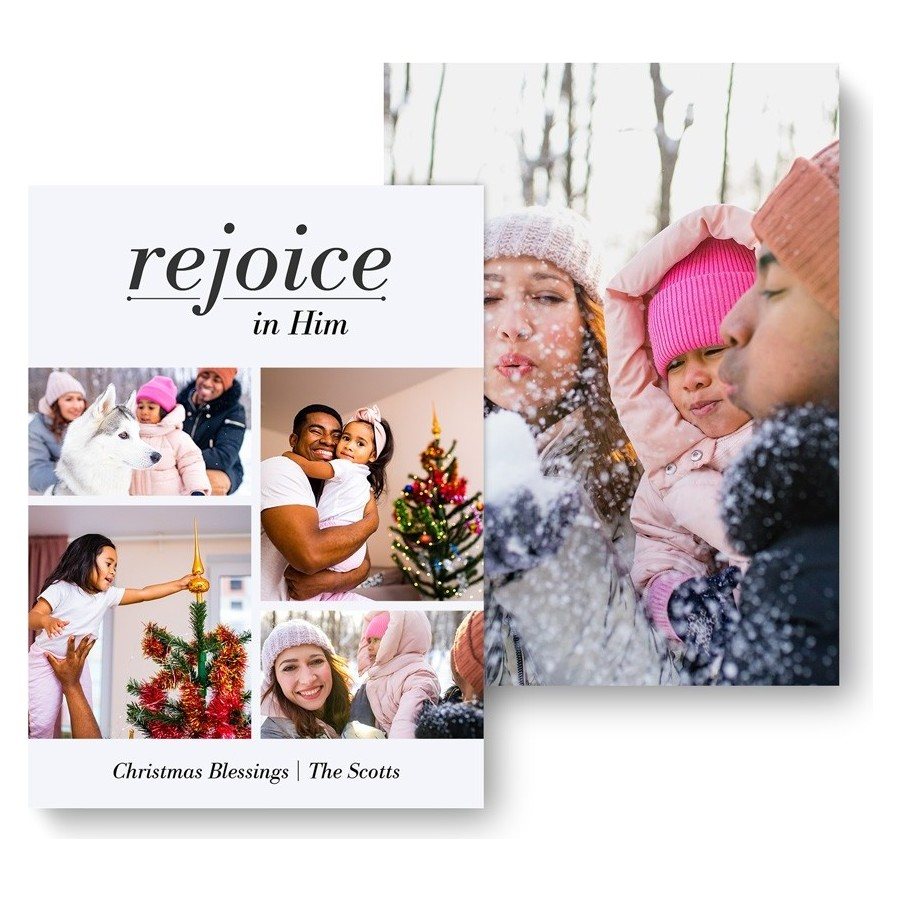 Rejoice in Him Holiday Photo Card - front