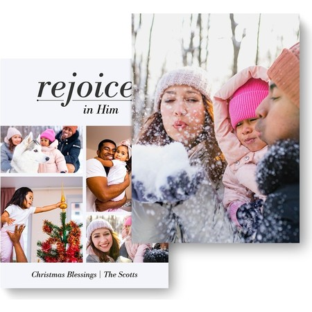 Rejoice in Him Holiday Photo Card - back