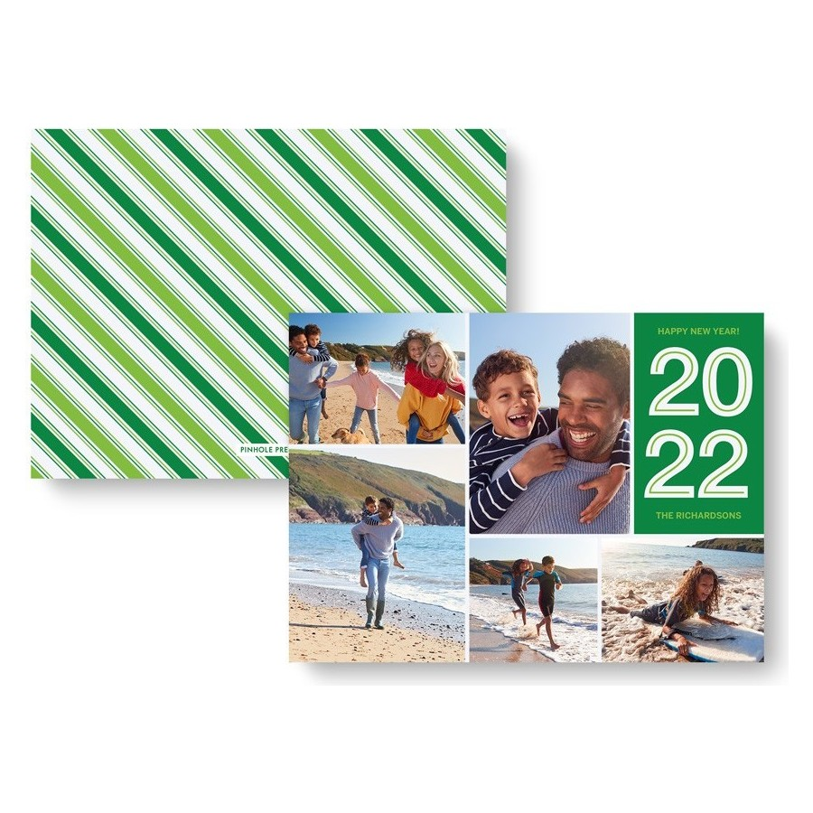 Happy New Year Striped Photo Card - Green