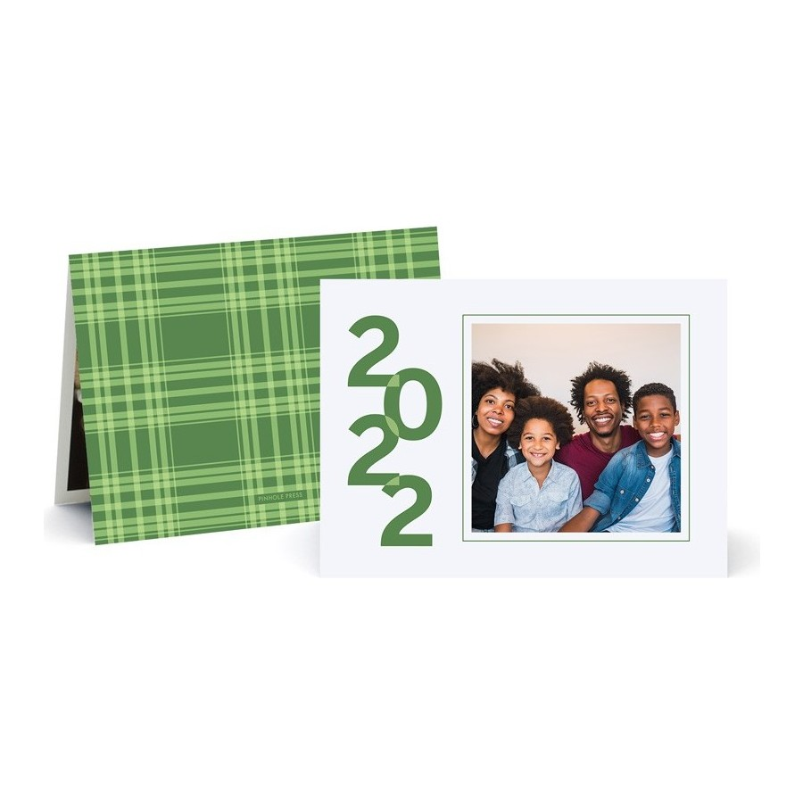 Cheer for the New Year Plaid Photo Card - Green