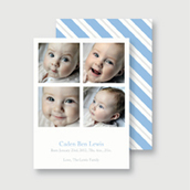 Blue Striped Birth Announcement