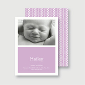 Purple Diaper Pins Birth Announcement
