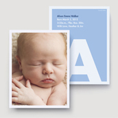 Light Blue Monogram Block Birth Announcement