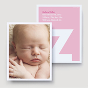 Pink Monogram Block Birth Announcement