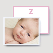 Pink Monogram Photo Thank You Card