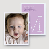 Purple Marquee Monogram Birth Announcement