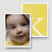 Yellow Monogram Birth Announcement