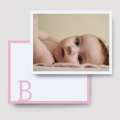 Pink Block Photo Thank You Card