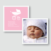Pink Pram Birth Announcement
