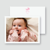 Pink Pram Photo Thank You Card