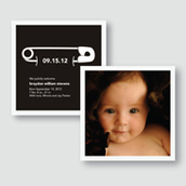 B&W Diaper Pin Birth Announcement