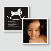 B&W Rocking Horse Birth Announcement