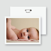 B&W Diaper Pin Photo Thank You Card