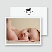 B&W Rocking Horse Photo Thank You Card