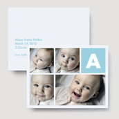 Sea Blue Monogram Birth Announcement