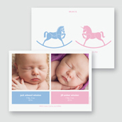 Rocking Horses Twin Birth Announcement