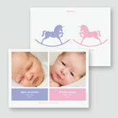 Rocking Unicorns Twin Girls Birth Announcement