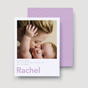 Purple Chenille Dots Birth Announcement