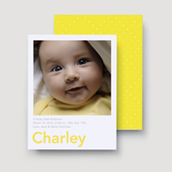 Yellow Chenille Dots Birth Announcement