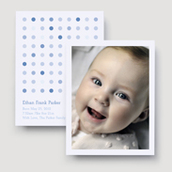 Blue Multi Dots Birth Announcement