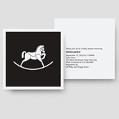 B&W Rocking Horse Shower Invitation