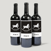 B&W Rocking Horse Bottle Labels