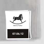 B&W Rocking Horse Goodie Labels & Bags